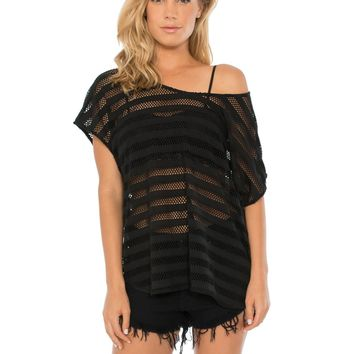 Meshed Stripes Tee - Sale | Sexy Clothes Womens Sexy Dresses Sexy Clubwear Sexy Swimwear | Flirt Catalog