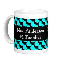 #1 Teacher, Aqua Hearts on Black; add name