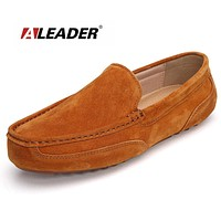Casual Men Leather Shoes Geuine Leather Fashion Loafers for Men Comfortable Mens Slip On Flats Male Driving Shoes