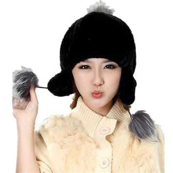 fashion black fur hats  Autumn and winter natural rex rabbit fur earflap cap with fox ball Women's H925