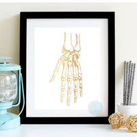 PRINTABLE ART Faux Gold Print Medical Printable  Human Anatomy Medical Illustration Skeleton Illustration Anatomy Hand Human Anatomy Art