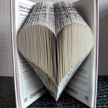 Heart - Folded Book Art - Book Sculpture - Unique Present - Girlfriend Gift - Boyfriend Gift - Gifts for Book Lovers