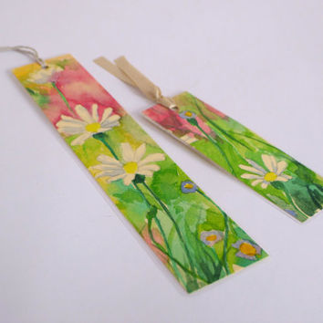 Daisies Flowers Set of two 2 Bookmarks  Hand Painted, Laminated  Beige Silk Ribbon Unique Original Watercolor By Dhana