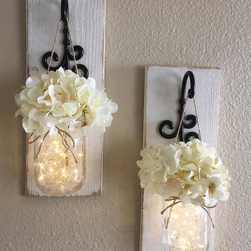 Set of Mason Jar Wall Sconces, Mason Jar Sconce, Mason Jar Decor, Mason Jar Wall Decor, Country Decor, Farmhouse Wall Decor, Farmhouse Decor