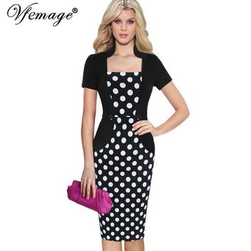 Vfemage Womens Elegant Vintage Retro Faux Twinset Jacquard Fabric Slim Patchwork Work Office Party Bodycon Sheath Dress 6125