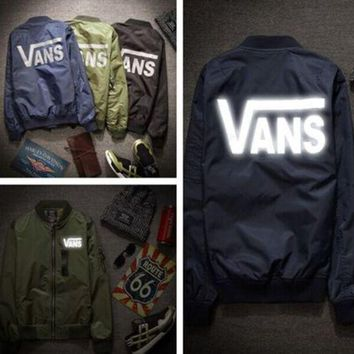 VANS Spring Autumn Women Men Loose Reflective Zipper Baseball Jacket I