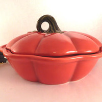 Pumpkin Pie Serving Dish Orange Ceramic Baking Pan Covered Casserole Fall Thanksgiving Tableware