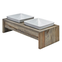 Artisan Double Wood Dog Feeder - Fossil (Grey)