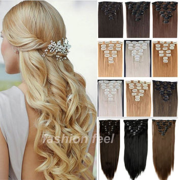Local Warehouse Long Clip in Hair Extensions Half Full Head Synthetic Hairpiece Straight real thick hair extentions NEW SALE