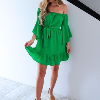 Separate Ways Dress: Emerald Green