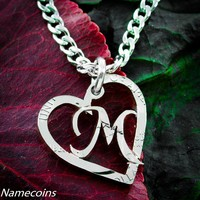 Monogram Necklace, Personalized heart  with your initial, hand cut coini