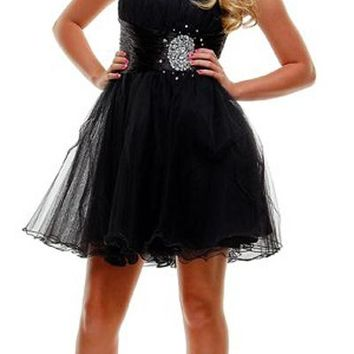 CLEARANCE - Short Black Homecoming Dress Tulle Skirt Strapless Empire Rhinestones (Size XL)