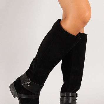 Suede Strappy Buckle Knee High Riding Boot