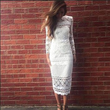 Summer Women White Lace Dress Hollow Out Elegant Vintage Black Long Sleeve Bodycon Female Sexy Dress