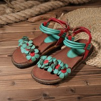 Handmade Summer Shoes for Women with Flower,Flat Casual Shoes Open Toe Leather Strappy Sandals