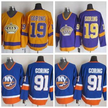 Throwback Los Angeles Kings #19 Butch Goring Jersey Vintage CCM Classic New York Islanders Butch Goring Hockey Jersey Blue Stitched Logos
