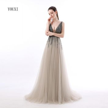 Sexy Side Split Prom Dresses 2017 Deep V Neck Backless Beads Crystal Party Gowns Sleeveless Sweep Train Cheap Tulle Party Dress