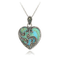 Heart Necklace 925 Silver Marcasite & Turquoise