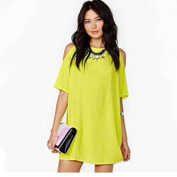 Hot Popular Chiffon Loose Off Shoulder Short Sleeve Mini Skirt Dress One Piece Dress _ 11914