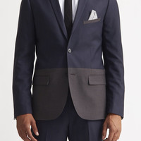 Slim Color Block Sharkskin Blazer