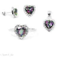 Sterling Silver Genuine Rainbow Mystic Topaz & Diamond Jewelry Set