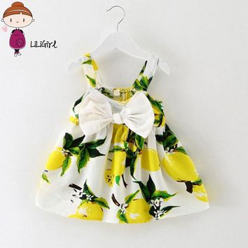 Infant Baby Clothes Brand Design Sleeveless Print Bow Dress 2017 Summer Girls Baby Clothing Cool Cotton Party Princess Dresses