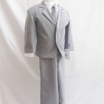Formal Boy GRAY Tuxedo with Long Tie (5 Pieces in 1 Set) - (Size 8, 10, 12, 14 only) - Boy Teen Toddler Ring Bearer
