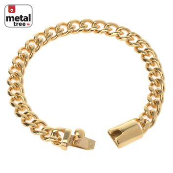 "Jewelry Kay style Hip Hop Heavy 14k Gold Plated 9 mm Stainless Steel Cuban Link Chain 9"" Bracelet"