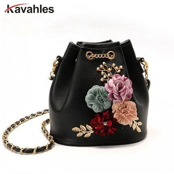 2018 Mini Shoulder Bags With Chain Drawstring Small Cross Body Bags Handmade Flowers Bucket Bags Pearl Bags Leaves Decals LW-31