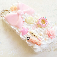 Clear iPhone 4/4S Case - Princess - Kawaii Hime Gyaru - Decoden Case - Sweets Candy - Pink Bow, Pearl Heart, Floral Rose - Pastel Fairy Kei