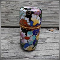 Small Vintage Cylindrical Cloisonne' Jar Enamel Blue Pink Yellow Green