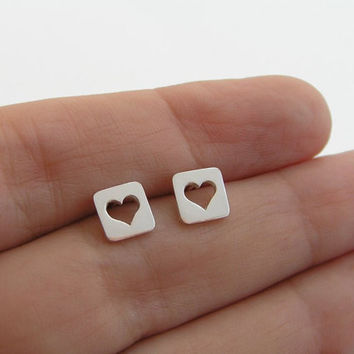 Heart Earrings - Heart in a Square Studs - Sterling Silver - Heart Jewelry