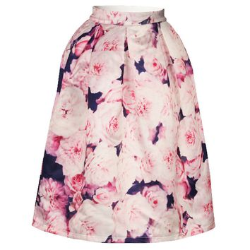 Streetstyle  Casual Floral Printed Delightful Flared Midi Skirt