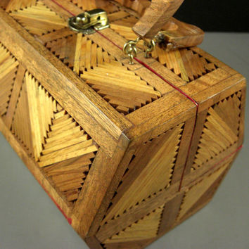 OOAK Wooden Inlay Marquetry Box Purse Handbag // American Tramp Art // Wonderful INCOMPARABLE Condition // from UBlinkItsGone
