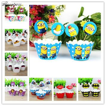 24pc Minnie Mouse spiderman mickey minions Party Paper Cupcake wrappers toppers for kids birthday party decoration cake cups