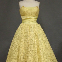 Buttery Yellow Lace Strapless 1950's Prom Dress & Bolero VINTAGEOUS VINTAGE CLOTHING