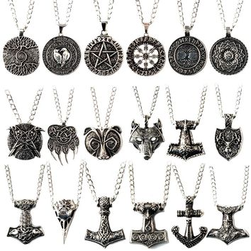 18 types Vikings Choker Necklace Tree Life Runes Amulet Design Wolf Head Vintage Pendant The Viking Charm Punk Woman Jewelry