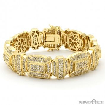 Gold Iced Out Shield Hip Hop Bracelet