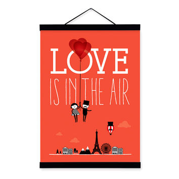 Triptych Romantic Paris City Eiffel Tower Love Balloon A4 Art Print Poster Home Wall Picture Canvas Painting Wedding Decoration
