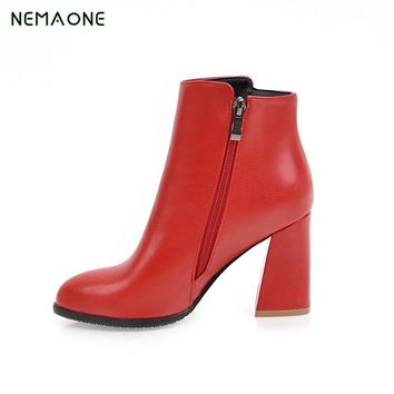 NEMAONE 2017 NEW winter women Leather shoes vintage Europe star fashion Square high heels Ankle boots zipper Snow boots