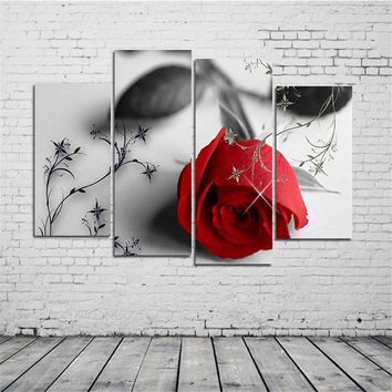 Modern Unframed Red Rose Painting Red Rose On Canvas Huge Wall Art Oil Painting 4pcs Business Place Club Restaurants Wall Decor