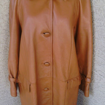 Leather coat jacket -- car coat Xlarge - New England Sprts Wear - three button front brown - 70s vintage