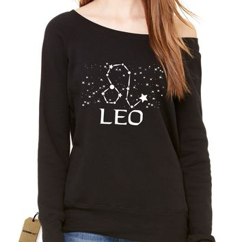 Leo Zodiac Star Chart Slouchy Off Shoulder Oversized Sweatshirt