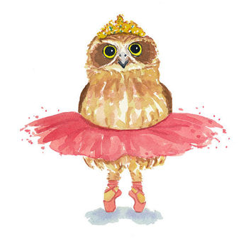 Ballet owl watercolor print owl painting ballerina art pink tutu owl illustration