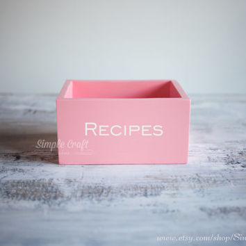 Recipe cards box 4x6 bridal shower recipe box wooden recipe card box pink memory recipe box wooden recipe organizer personalized recipe box