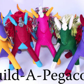 Build-A-Pegacorn, Handmade Eco-Fi Felt Pegacorn, Custom Made, Stuffed Animal, Plush, Fantasy, Toy, Made to Order, Kids, Pegasus, Unicorn