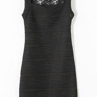 Black Lace Panel Cut Out Bodycon Dress