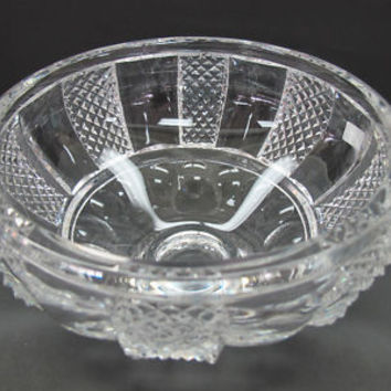 Hand Cut glass bowl HAND POLISHED crystal signed