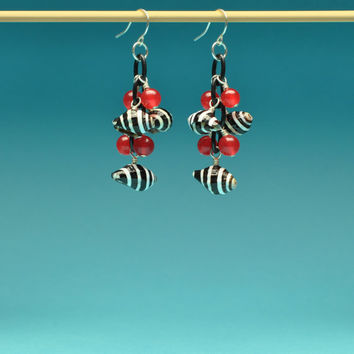 Black and White Stripe Seashells with Red Jade Dangle Earrings