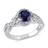 6.5mm Lab-Created Blue and White Sapphire Ring in Sterling Silver